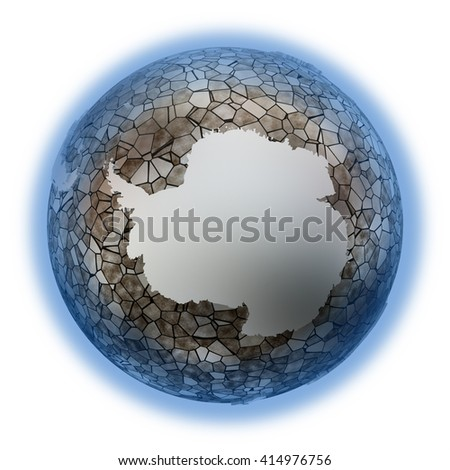 Antarctica on metallic model of planet Earth. Shiny steel continents with embossed countries and oceans made of steel plates. 3D illustration isolated on white background. - stock photo