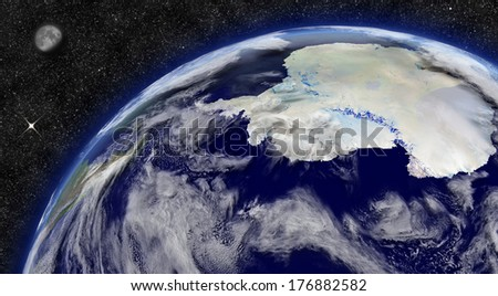Antarctica on planet Earth from space with Moon and stars in the background. Elements of this image furnished by NASA. - stock photo
