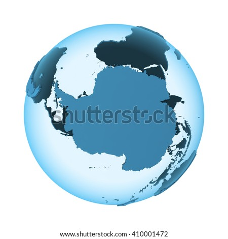 Antarctica on translucent model of planet Earth with visible continents blue shaded countries. 3D illustration isolated on white background. - stock photo