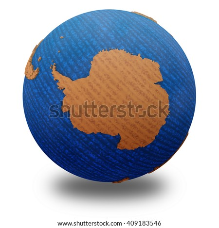 Antarctica on wooden model of planet Earth with embossed continents and visible country borders. 3D illustration isolated on white background with shadow. - stock photo