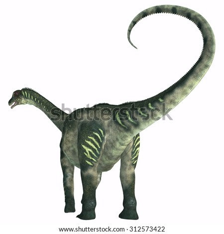 Antarctosaurus Dinosaur Tail - Antarctosaurus was a sauropod herbivore dinosaur that lived during the Cretaceous Period in South America. - stock photo