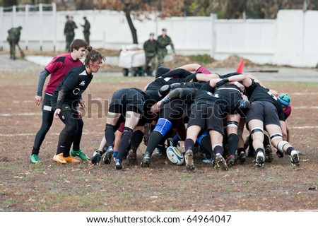 ANTARES - EGER, UKRAINE, KIEV - NOVEMBER 6 : Rugby players in action at a Ukrainian National Championship rugby match, Antares vs. Eger, November 6, 2010 in Kiev, Ukraine. - stock photo