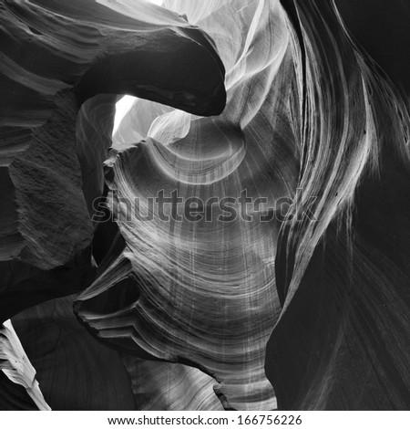Antelope Canyon Black and White - stock photo