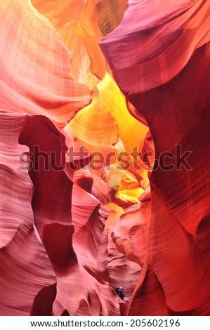 Antelope Canyon in the Navajo Reservation near Page, Arizona USA - stock photo