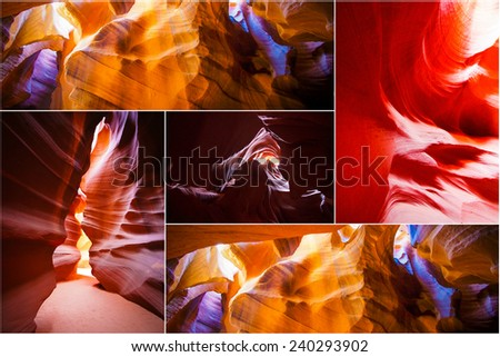 Antelope Canyon 5 photos collage - stock photo