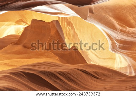 Antelope Canyon view with light rays like monument valley - stock photo
