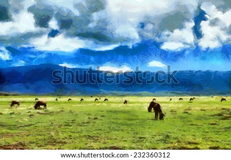 Antelopes gnu feeding on meadow among mountains in Africa illustration - stock photo