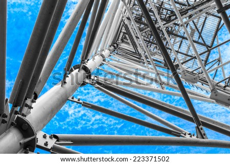 Antenna broadcast TV signal. process color - stock photo