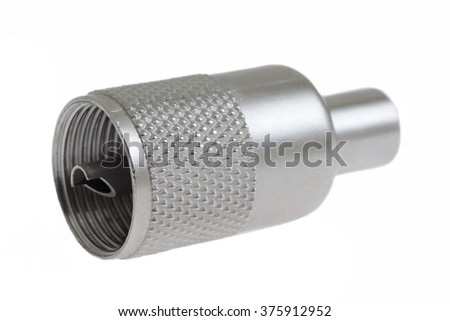 Antenna cable connectors, metal plug on white, macro - stock photo