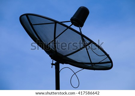 Antenna communication satellite dish with blue sky - stock photo