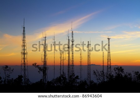 Antenna from viewpoint on Mount Penanjakan indonesia - stock photo