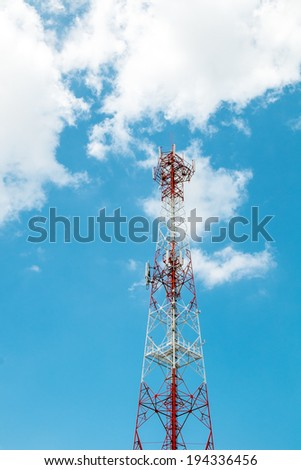 antenna of cellular communication with blue sky