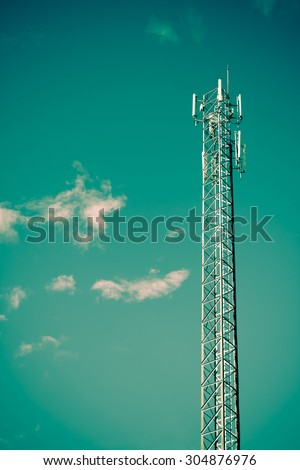 antenna repeater tower on blue sky