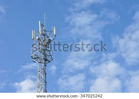 Antenna Tower of Communication on blue sky, Mobile phone antenna tower - stock photo