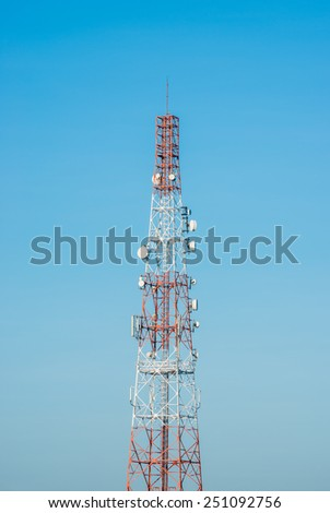 Antenna Tower of Communication with blue sky.