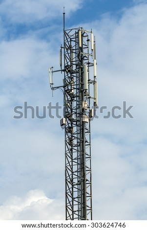 Antenna with blue sky background - stock photo
