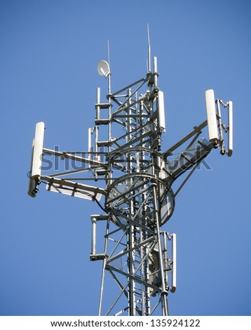Antennas on mobile network tower. Global system for mobile communications. - stock photo