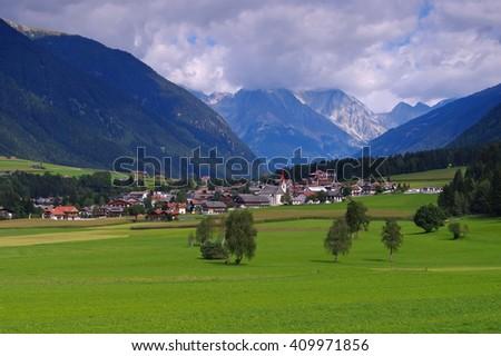 Antholzer valley in italian Alps - stock photo
