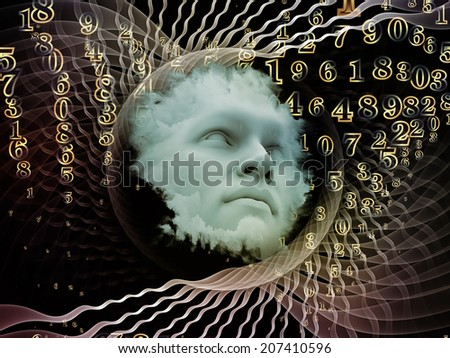 Anthropocentric series. Arrangement of human face and design elements on the subject of technology, science, education and human mind - stock photo