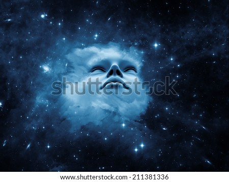 Anthropocentric series. Interplay of human face and design elements on the subject of technology, science, education and human mind - stock photo