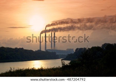 Anthropogenic landscape - state district power station. Rostov region, Novocherkassk, Russia