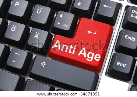 anti age button showing forever young concept