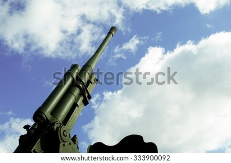Anti-aircraft canon clear sky background view