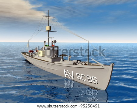 Anti Submarine Chaser Ship Computer generated 3D illustration - stock photo