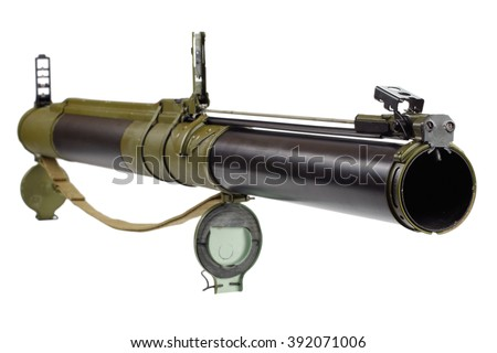 "anti-tank rocket propelled grenade launcher ""bazooka"" type isolated on white - stock photo"