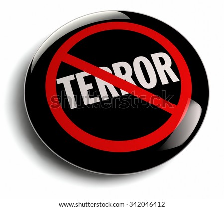 Anti terrorism campign badge with terror word crossed out. - stock photo
