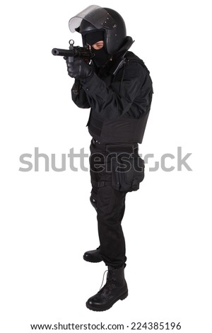 anti-terrorist policeman in black uniform isolated on white
