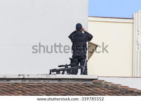 anti terrorist sniper elite police - stock photo