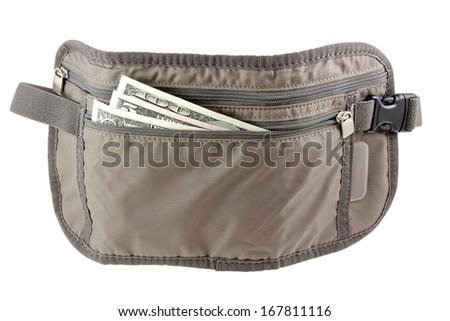 Anti-theft Travel pouch, waist bag, to put money, ticket and passport, isolated on white  - stock photo