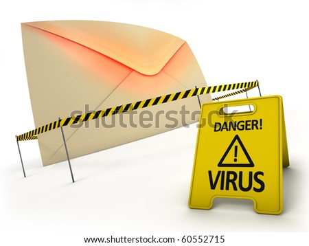 ANTI VIRUS concept. Mail with virus files inside behind danger tape and warning sign. - stock photo
