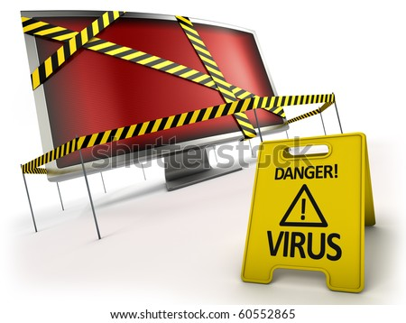 ANTI VIRUS concept. Monitor with red screen behind danger tape and warning sign.