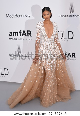 ANTIBES, FRANCE - MAY 21, 2015: Chanel Iman at the 2015 amfAR Cinema Against AIDS gala at the Hotel du Cap d'Antibes, as part of the 68th Festival de Cannes. - stock photo