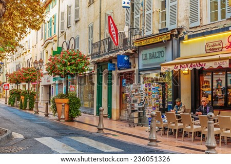 ANTIBES, FRANCE - NOVEMBER 3, 2014: Street in the old town - stock photo