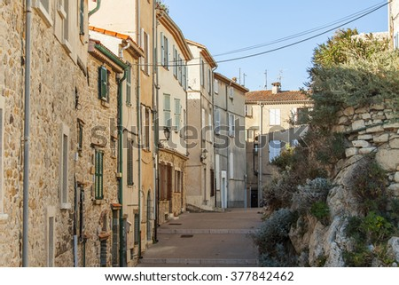 ANTIBES, FRANCE, on JANUARY 11, 2016. Typical urban view in the winter sunny day. Antibes - one of the cities of French riviera