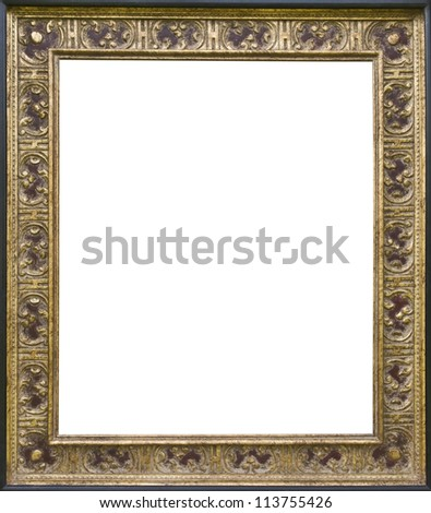 antic empty golden canvas frame with gil tings  isolated