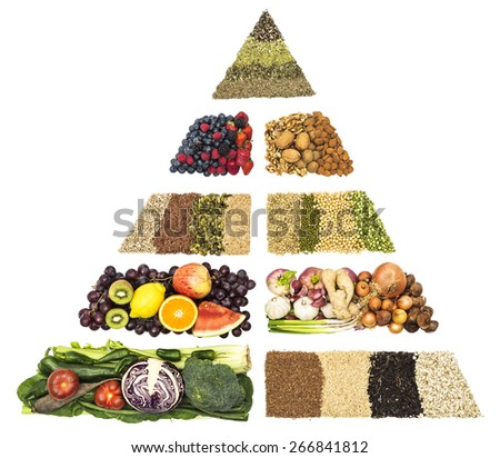 Anticancer food pyramid vegetables and whole grains   lsunflower seeds linseeds pumpkin sesame seeds lentils soybeans and green peas berries nuts herbs oregano,thyme gingko rosemary and echinacea - stock photo