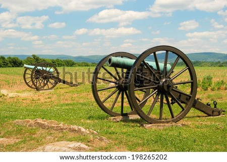 ANTIETAM, MARYLAND, USA - JUNE 6, 2014: Canons at Antietam National Battlefield, known as the bloodiest one day battle in American history.