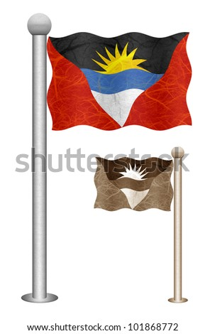 Antigua and Barbuda flag waving on the wind. Flags of countries in North America. Mulberry paper on white background.