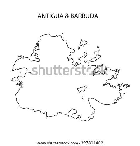 Antigua Barbuda Map Outline Stock Illustration 397801402 Shutterstock