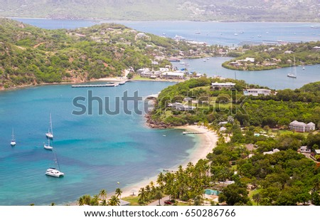 Antigua, Caribbean islands, English Harbour view with Freeman's bay and yachts anchored by the beach
