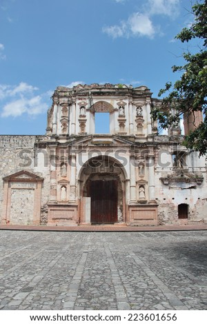 "Antigua, Guatemala: Church of Society of Jesus (""Iglesia de la Compania de Jesus""), founded by jesuits in 1626, and damaged by the big earthquake of 1773. UNESO World Heritage. - stock photo"