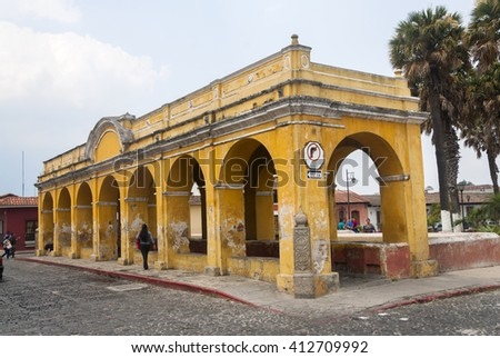 Antigua, Guatemala  18/04/16, Loundry Building in Antigua Guatemala, a UNESCO World Heritage Site founded in the 16th century. Public. Editorial.