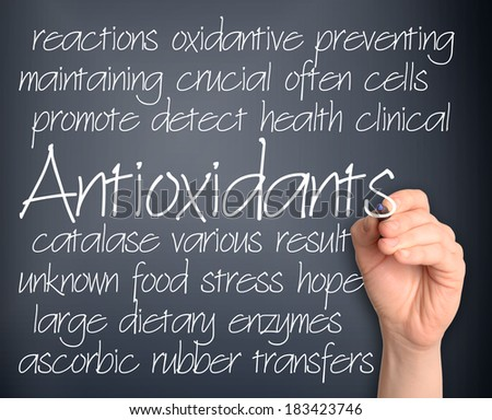 Antioxidants word cloud handwritten