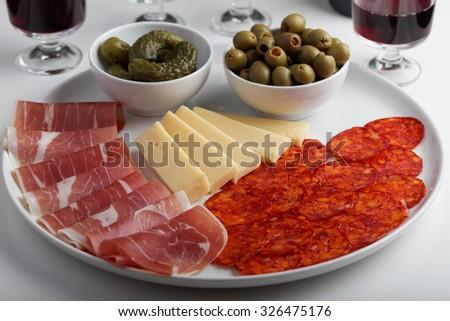 Antipasto on a table - stock photo