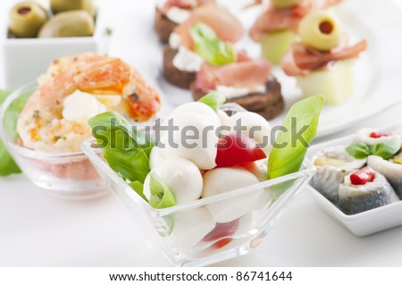 Antipasto with caprese, canapes and seafood - stock photo