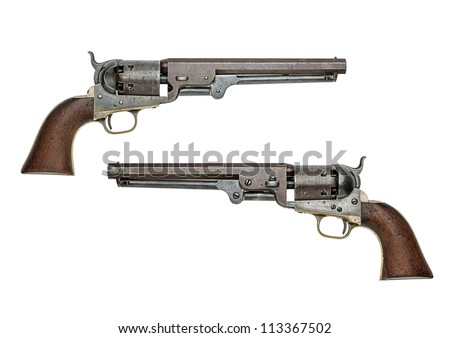 antique american Colt Navy percussion revolver - stock photo